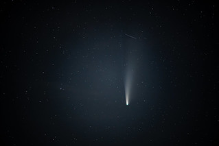 Comet NEOWISE and a second satellite trail | by adambowie