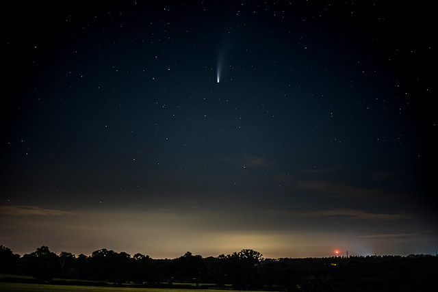 Comet NEOWISE viewed near Brookman's Park and the glow of the M25 motorway