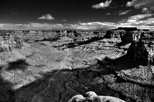 A Road to Follow off Into the Distance (Black & White, Canyonlands National Park)