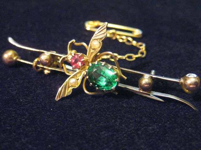 An Edwardian Art Nouveau Ruby, Emerald and Pearl Insect Brooch