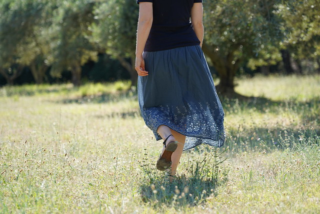 Walking in the olive trees field
