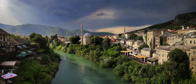 Mostar is a city in southern Bosnia and Herzegovina, straddling the Neretva River