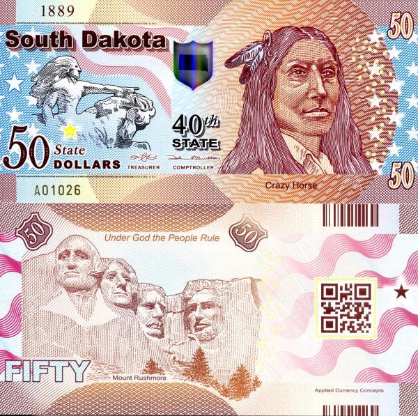 USA 50 Dollars 2015 40. štát - Južná Dakota polymer