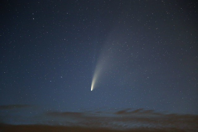 Comet NEOWISE at twilight