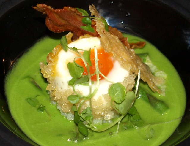 Pea Soup with Deep Fried Poached Egg and Crispy Bacon