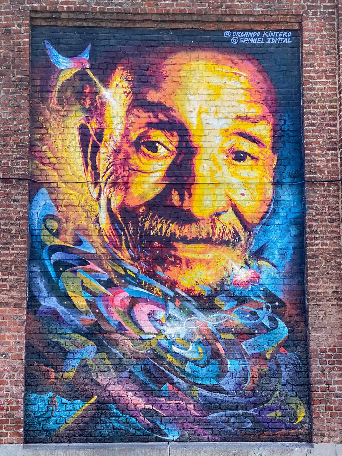 Street art Portrait of Pierre Rabhi by Samuel Idmtal & Orlando Kintero