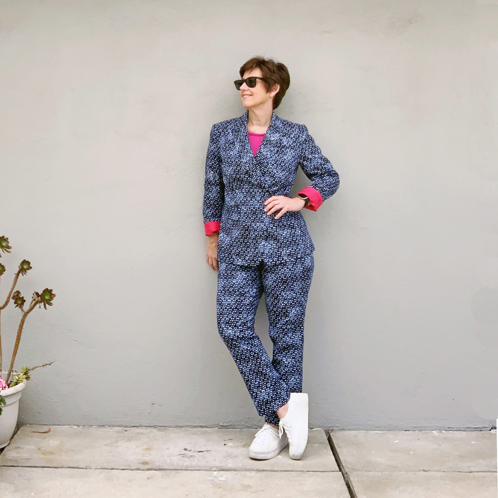 Denim suit front view with sunglasses