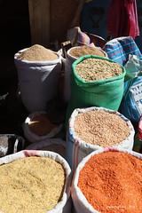 Sacks of dried beans & pulses - Kidame Gebya - Open Air Market - Gondar Amhara Ethiopia