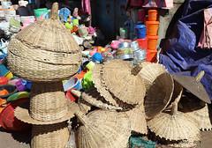 Woven wicker baskets & covers - Kidame Gebya - Open Air Market - Gondar Amhara Ethiopia