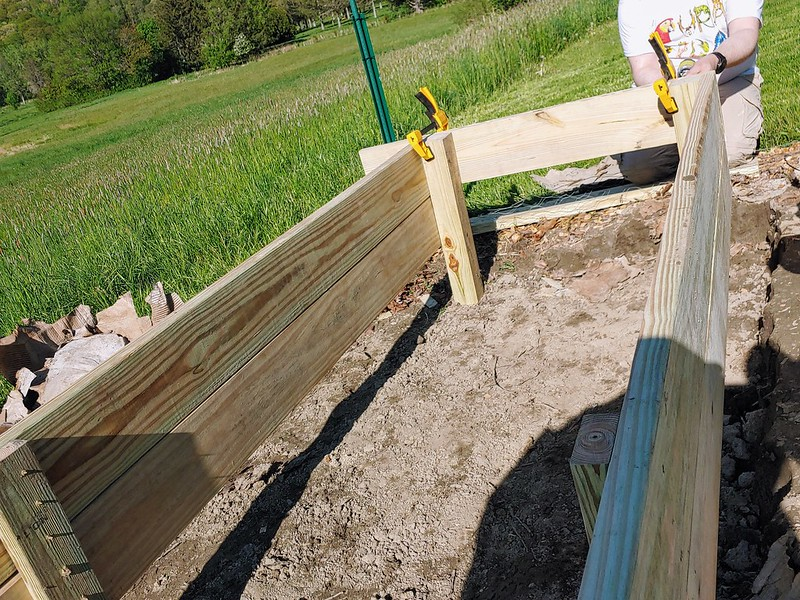 Building the raised bed in-place (18' is too heavy to move!)
