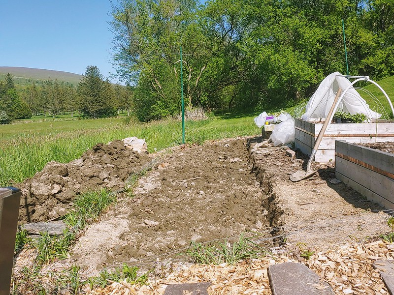 Digging an 18' long x 4' wide hole, level into sloped ground.