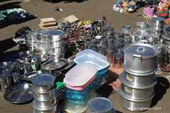 Predominantly metal cooking pots - Kidame Gebya - Open Air Market - Gondar Amhara Ethiopia