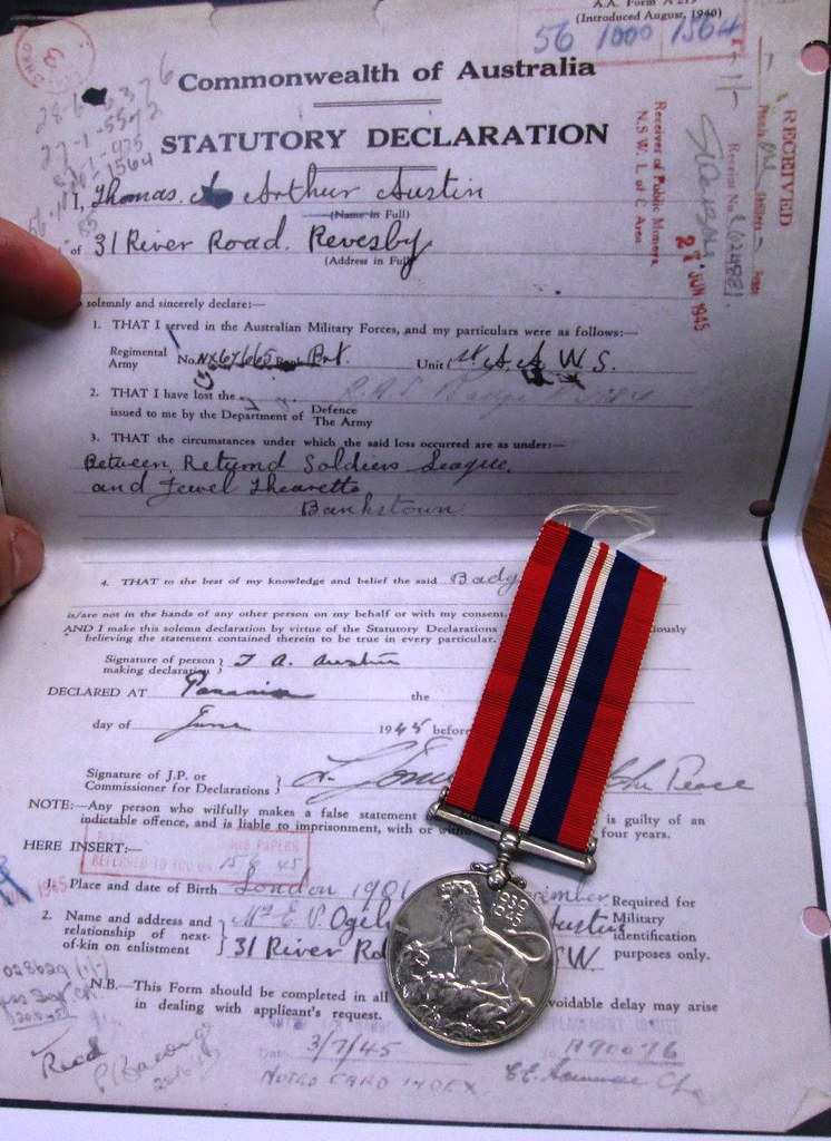 WW2 medal for NX67665 Thomas Arthur Austin