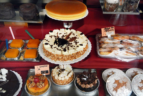 Window shopping for desserts in Santiago de Compostela, Spain