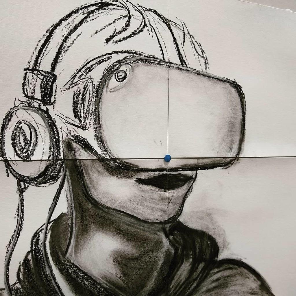 #robotboy #charcoalsketch #oculusquest #i2f #studiotime