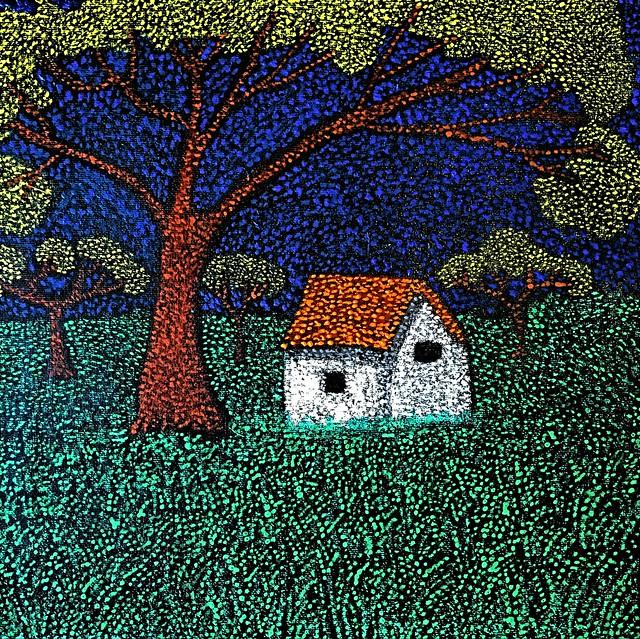 Farm House - Pointillism