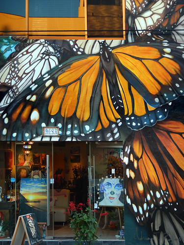 Monarch Butterfly storefront of an art shop in Bucerias, Mexico