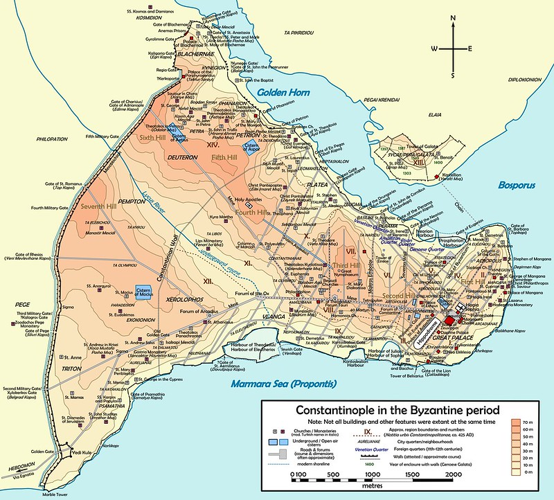 Map of Constantinople before Ottoman occupation