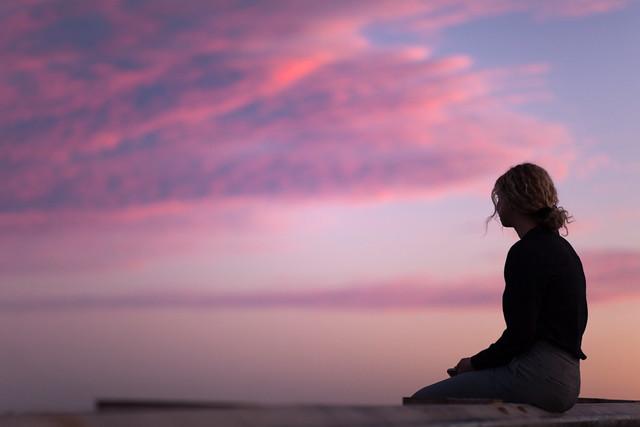 Girl admiring the sunset