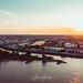 Sunset at river Rhein in Düsseldorf