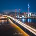 Rheinturm Düsseldorf at night from above