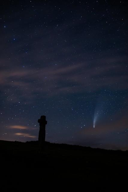 Neowise Comet over Cadover Cross, Dartmoor