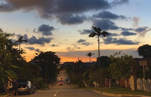 Sunset at Saraca Road. Seletar Hills Singapore, 19 July 2020.  IPhone XR.