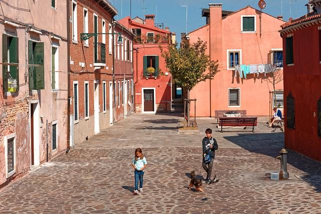 Venice /  Giudecca / Calle Ferrando / Two children with the dog