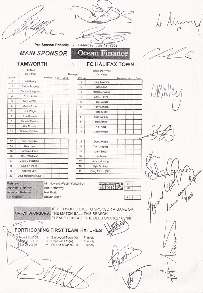 19/07/2008 Signed Teamsheet vs Tamworth (Skircoat Shed Archive)