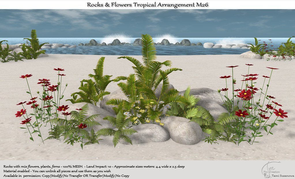 .:Tm:.Creation Tropical Flowers Rocks Arrangement M26