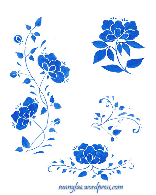 blue folk inspired flowers