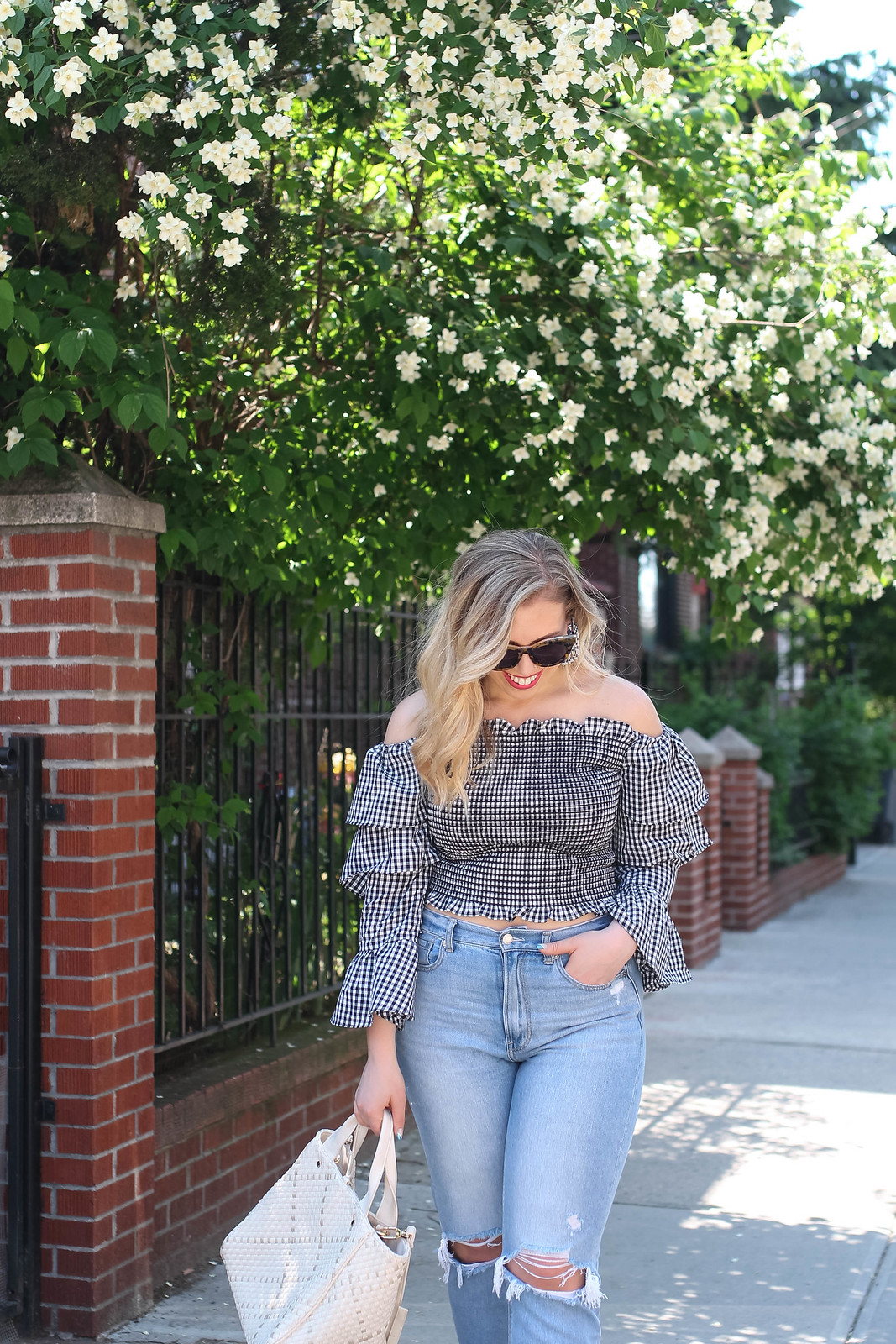 Black White Checkered Off the Shoulder Top | American Eagle Mom Jeans