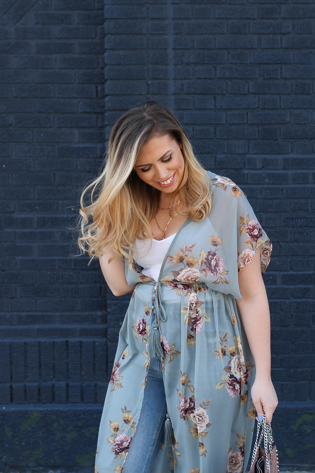 Blue Floral Sheer Kimono | Spring Outfit Inspiration