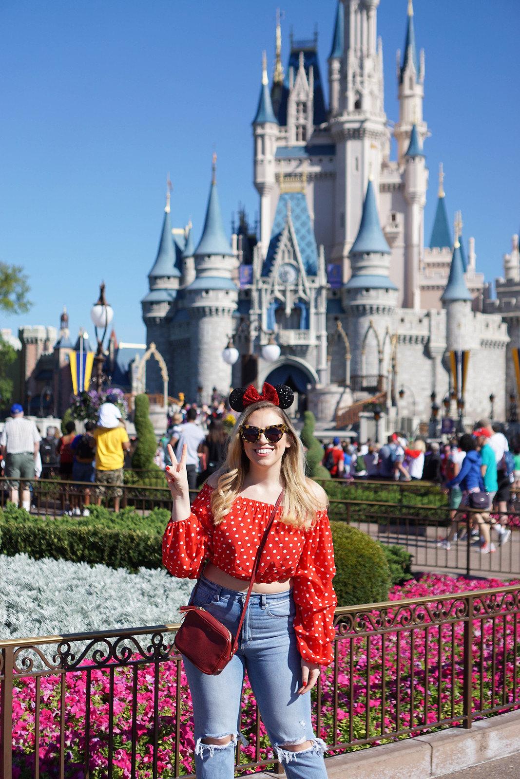 Walt Disney World Orlando Florida   Magic Kingdom   Minnie Style Red Polka Dot Top   Minnie Ears   What to Wear to Disney World   Cinderellas Castle