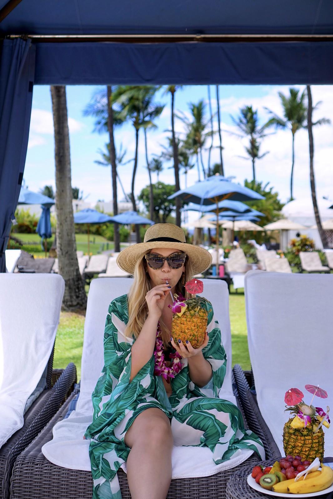 Fairmont Hotel Maui Hawaii | Cabana at Pool | Pineapple Drink | Palm Print Kimono