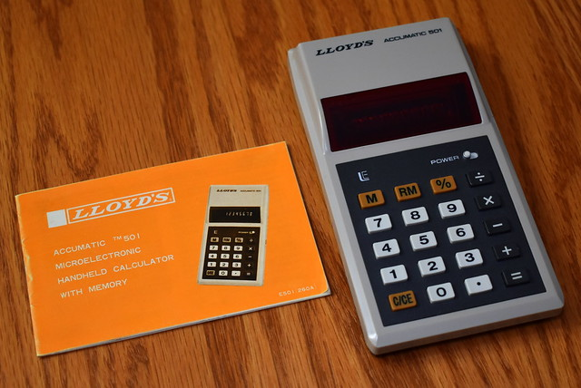 Vintage Lloyd's Accumatic 501 Electronic Pocket Calculator With Instruction Booklet, Model E501, 7 Functions With Memory, 8-Digit LED Display & Floating Decimal, Made In Taiwan, Circa 1976