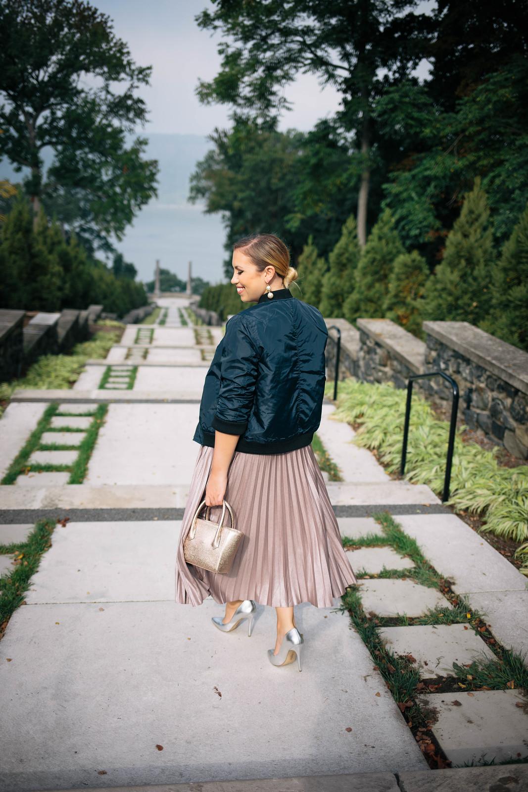 Navy Bomber Jacket | Metallic Pleated Midi Skirt | Silver High Heels | Untermeyer Park & Gardens Yonkers NY