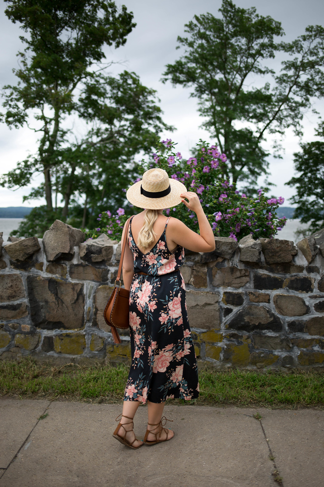 Billabong Floral Midi Dress | Brixton Straw Hat | Late Summer Outfit Inspiration