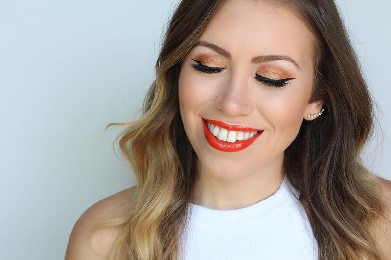 Orange Monochromatic Makeup Look   Orange Eyeshadow   Black Cat Eye   Orange Glossy Lipstick