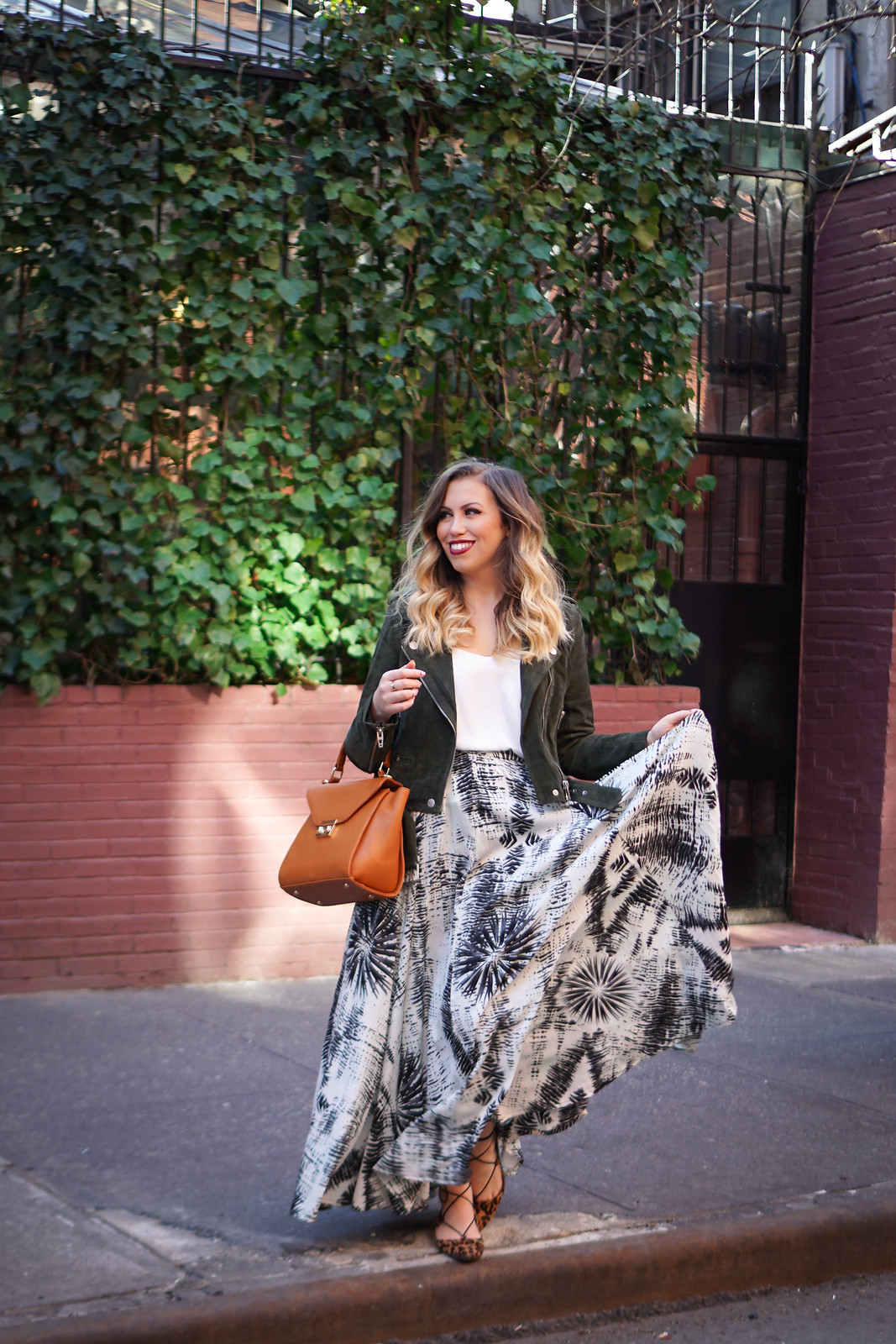 Green Suede Moto Jacket Blank NYC | Black & White Maxi Skirt | A Look Back at 10 Years of Blogging Living After Midnite Blogger Jackie Giardina