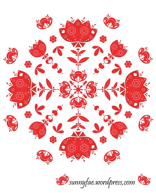 red folk art flower mandala