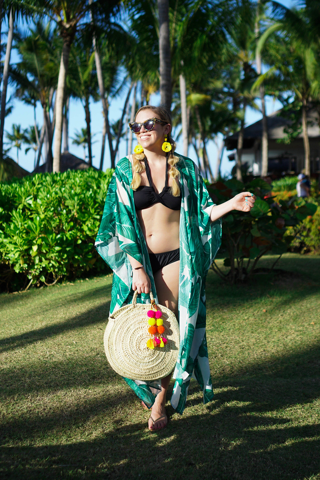 Punta Cana Vacation All Inclusive Outfit | Bubble Pig Tails | Green Palm Print Kimono Swimsuit Coverup | Black Bikini