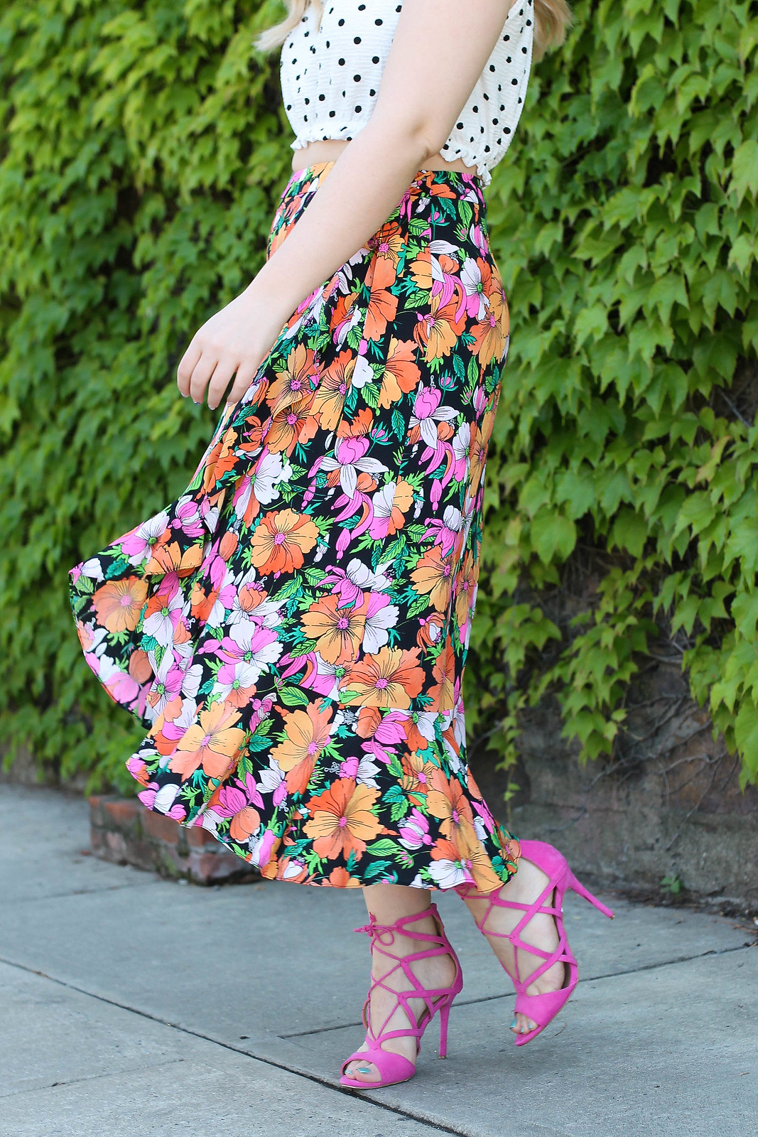 White Polka Dot Crop Top | Floral Wrap Midi Skirt | Hot Pink Lace Up Heeled Sandals