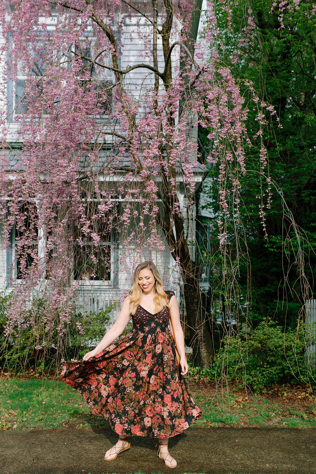Free People Black Red Pink Floral Maxi Dress | Boho Outfit Inspiration