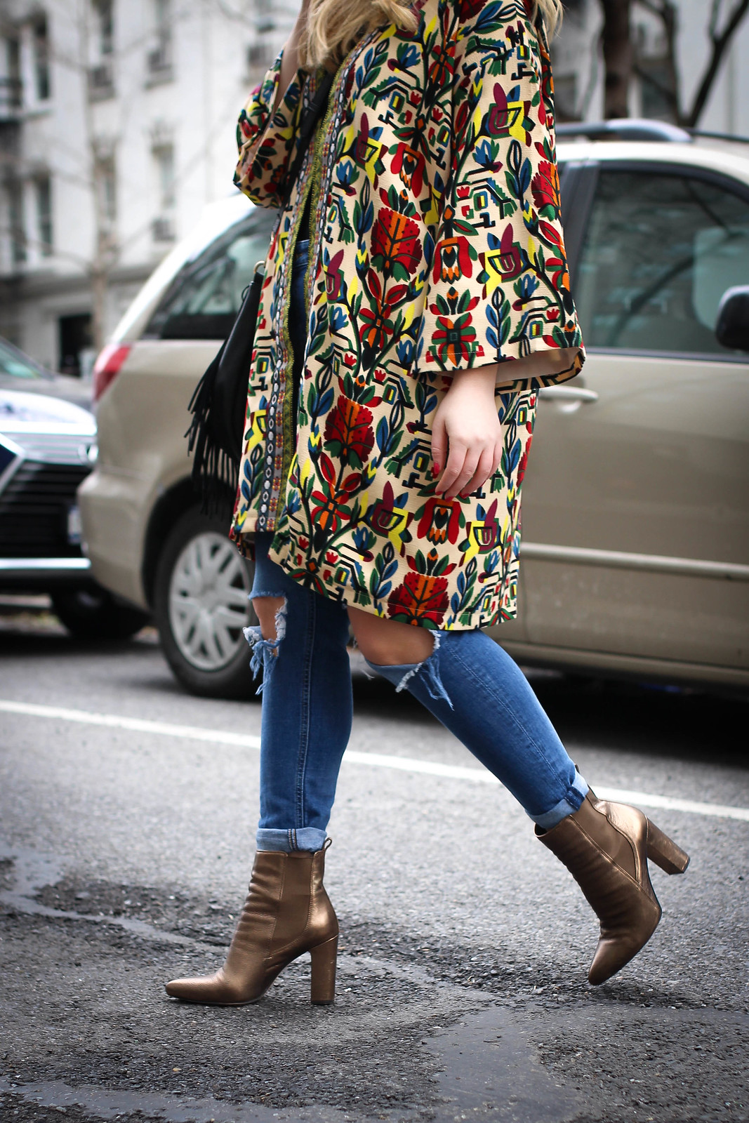 Colorful Embroidered Spring Jacket | Distressed Jeans | Bronze Heeled Booties