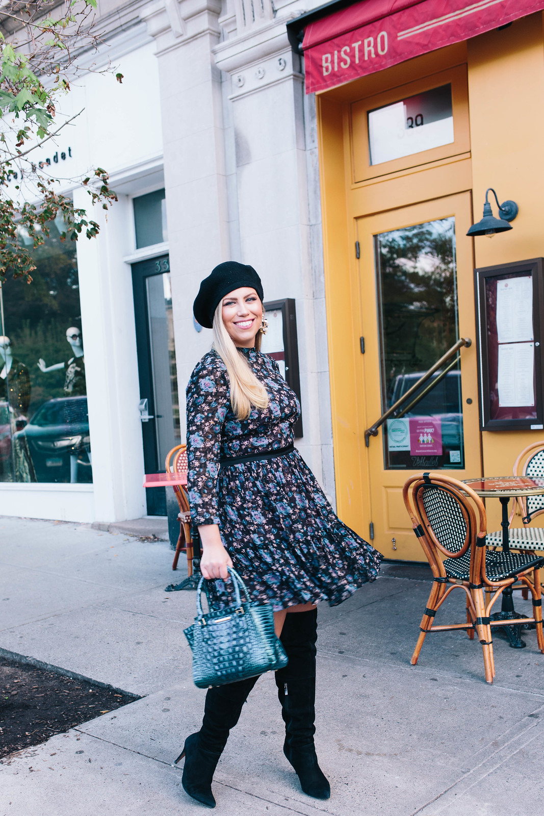 Winter Holiday Outfit | Black Beret | Purple Black Floral Swing Dress | Black Over the Knee Suede Boots