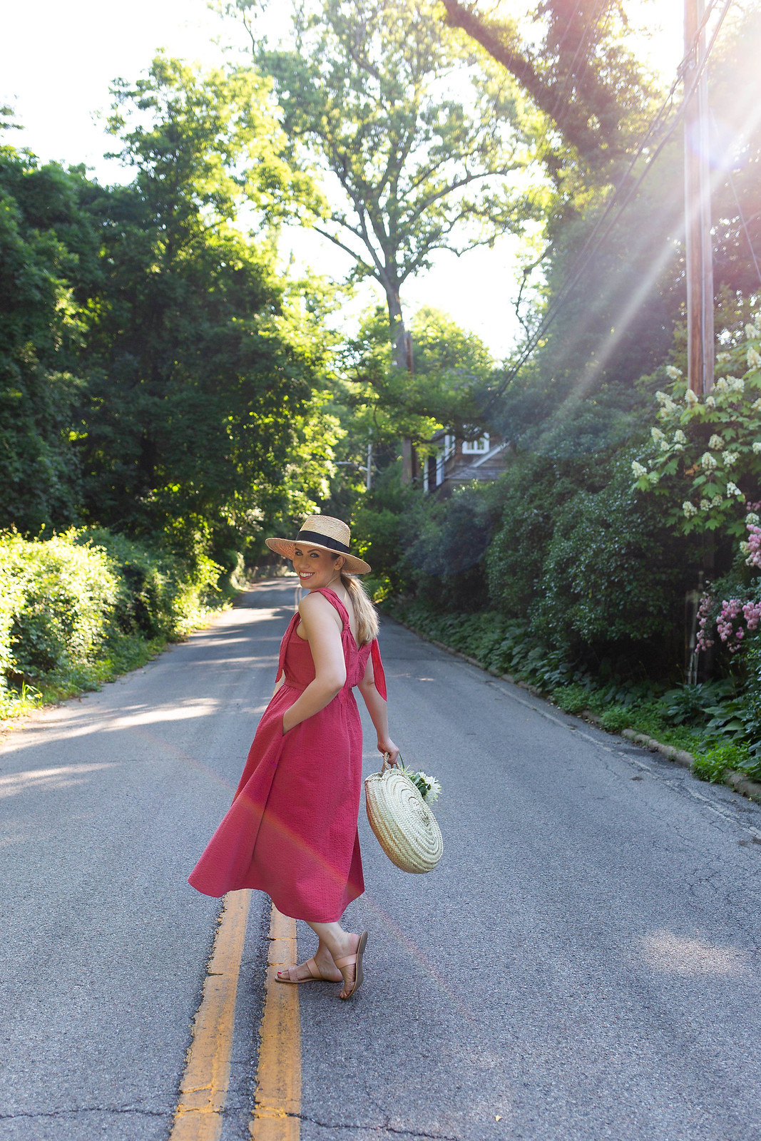 Pink Feminine Summer Dress Style | Straw Hat | Rattan Bag | Country Girl