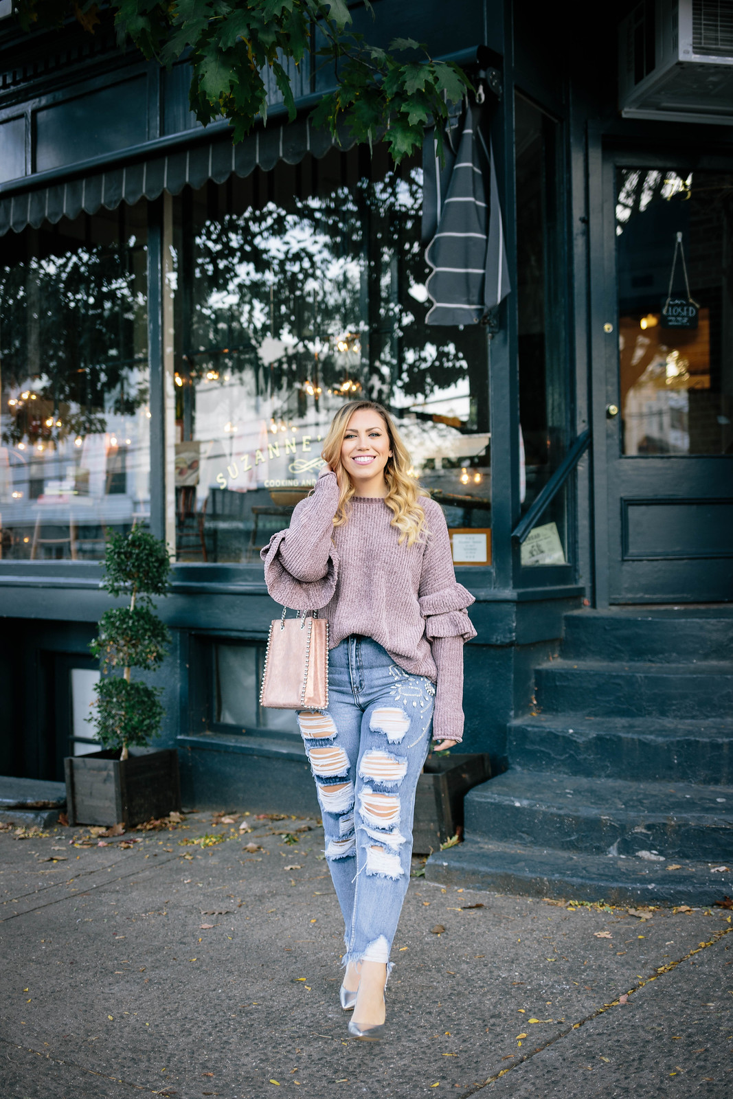 Purple Chenille Sweater | Embellished Distressed Jeans | Fall Outfit Inspiration