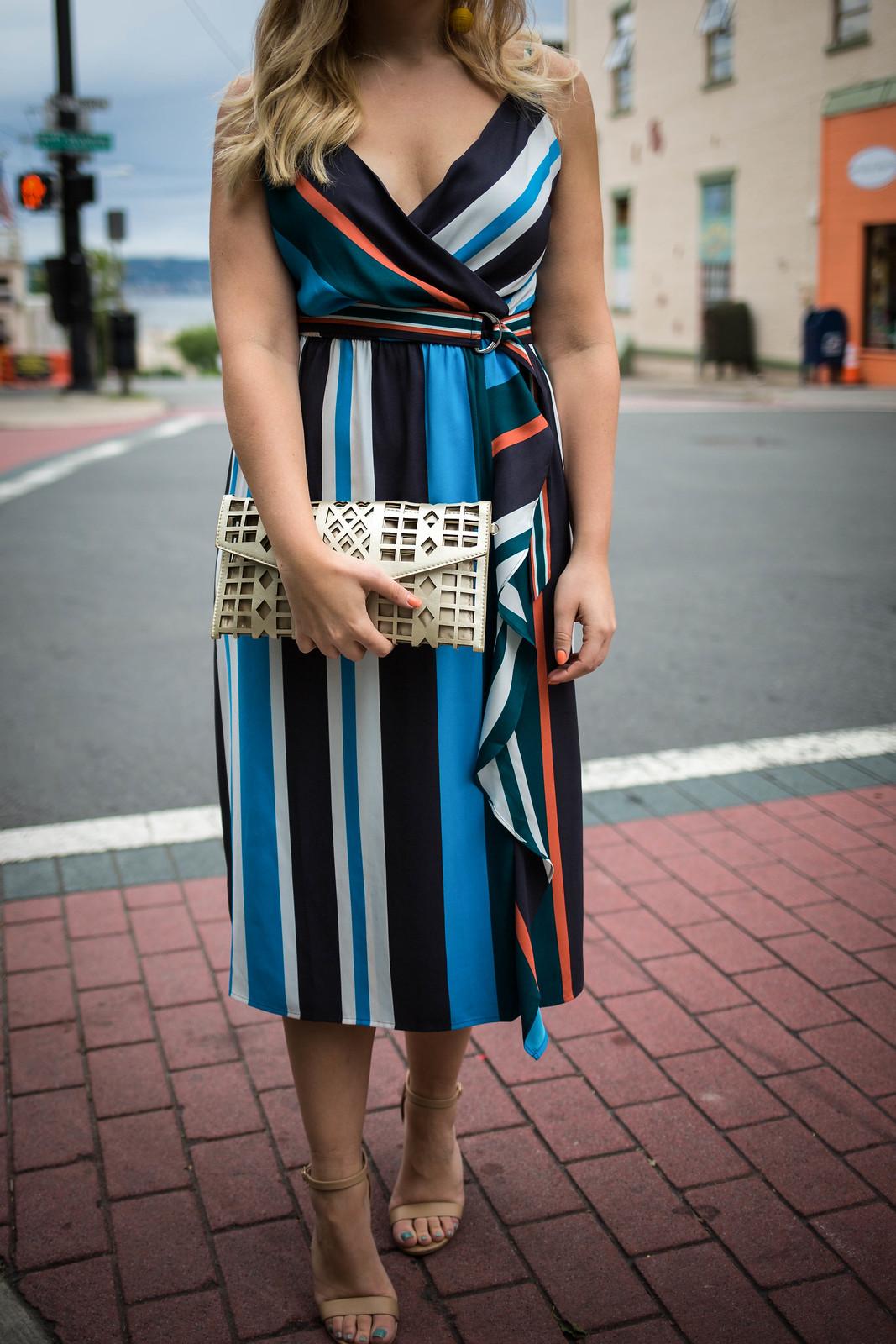 Blue Stripe Midi Dress   Fall Wedding Outfit Inspiration   Wedding Attire