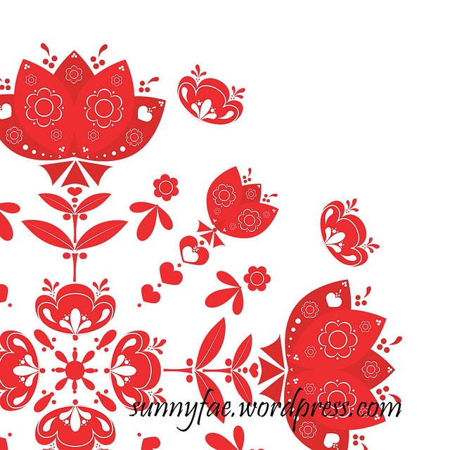 red folk art flower mandala detail